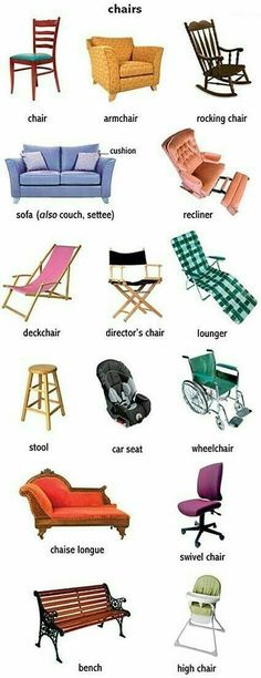 Expand your vocabulary with these names for different kinds of chairs. English Writing, English Study, English Class, English Grammar, English Vocabulary Words, Learn English Words, English Phrases, English Tips, English Lessons