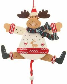 Wooden Jumping Jack Reindeer.