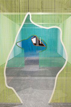 steel curtain screens - Daniel Steegmann Mangrané - Esther Schipper gallery booth Frieze New York 2014