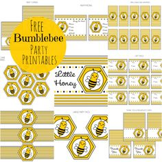 FREE Bumble Bee Party Printables from Printabelle. Bee, these are really cute. Gender Neutral Baby Shower, Baby Shower Themes, Baby Shower Decorations, Shower Ideas, Bumble Bee Birthday, Bee Gender Reveal, Bee Free, Mommy To Bee, No Rain