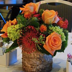#c2mdesigns #floral #floraldesign #centerpiece #birch #bark #fall #seasonal #roses #orange #pincushionprotea #safflower #hydrangea #hypericum #corporateevent #event #boston #sheratonboston #nxtevent #design #designsthatrock #likeC2MdesignsFacebook Designer: #christinemccaffery