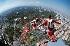 Felix Baumgartner does a space dive.