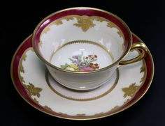 TV T&V Limoges Hand Painted Red and Gold Gilt Flowers Cup and Saucer - A #TV
