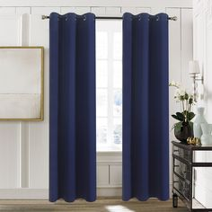 Bedroom Blackout Window Curtain Panels - Aquazolax Grommets Blackout Curtains 42x84 Plain Window Treatment Drapery for Nursery, 2 Panels, Navy Blue *** More info could be found at the image url. (This is an affiliate link and I receive a commission for the sales)