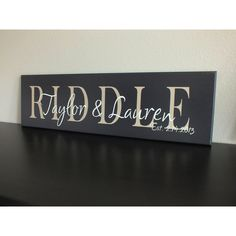 Personalized Family Name Sign Established in Sign 7'x24' (355 NOK) ❤ liked on Polyvore featuring home, home decor, wall art, dark olive, home & living, home décor, wall décor, text signs, personalized wall art and personalized home decor