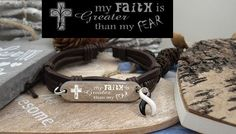 BW-4 Ehlers Danlos Syndrome Jewelry CVID EDS Awareness Gift Faith Greater Than Fear Leather Bracelet For Him For Her