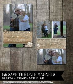 Rustic Lace Wedding Save the Date Magnet Digital Templates Wood or Paper background with flowers and photo  Digital $15.00 or Professionally Printed  www.oddlotweddings.com #savethedatemagnet #weddingannouncement