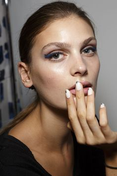 Best Nails at London, Milan and Paris Fashion Weeks Spring 2015 --  J. JS Lee, London, Spring 2015 --  We can't get over these white almond nails with black-tip detailing at J. JS Lee.