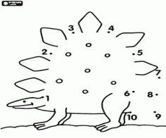 desenho de Um estegossauro, ponto a ponto para colorir
