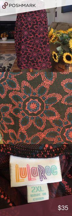 Lularoe Floral Skirt 97% Polyester 3% Spandex LuLaRoe Skirts Midi