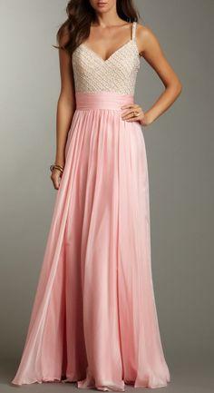 Beaded Petal Pink Gown / La Femme