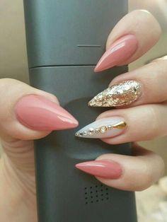 45 best light pink stiletto gel nail art designs for prom Simple Stiletto Nails, Stiletto Nail Art, Fancy Nails, Gel Nail Art, Pink Nails, Pretty Nails, Simple Nails, Classy Nails, Gel Manicure