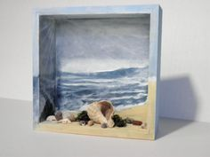 Beach House Decor Ocean Blue Diorama Beach Scene, Shadow Box Scene, Coastal Home Decor