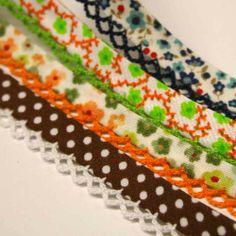 Biasband met print en gehaakt randje. Diverse kleuren en prints.  www.halsoverkop.nl