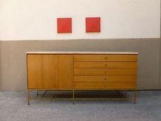 Calvin Paul McCobb Travertine Marble Top Sideboard Credenza with Brass Legs P | eBay