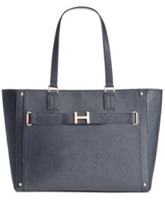 TOMMY HILFIGER Tommy Hilfiger H-Belted Textured Leather Tote. #tommyhilfiger #bags #leather #hand bags #tote #