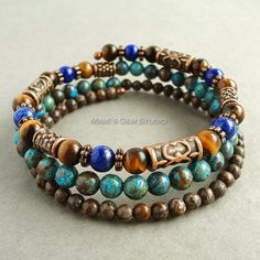 Mens Memory Wire Bracelet, Lapis Lazuli, Tiger Eye, Blue and Brown Jasper, Antiqued Copper, Wrap Around, Gemstone Jewelry for Men, Guys, Him $36.95