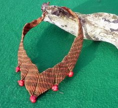 Macrame necklace with red coral
