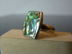 Vintage Silver Abalone Slab Ring by FourSailAccessories on Etsy, $28.00