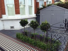 Bespoke storage grey colour slate paving path mosaic black red white London Balham Clapham Wandsworth Contact anewgarden for more information Victorian Front Garden, Slate Paving, London Garden, Rest Of The World, Gray Color, Colour, House Front, Paths, Entrance