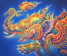 Title: Karin Puksa (Flying Elephant),  Original Source: Chalermchai Kositpipat,  Vector Illustration: Morakot Khuenkaew