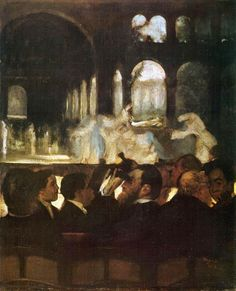 """The Ballet from """"Robert le Diable,"""" 1871.Edgar Degas (French, 1834–1917).Oil on canvas. Metropolitan Museum of Art. This scene is from the third act of Giacomo Meyerbeer's opera """"Robert le Diable."""" The ghosts of dead nuns have been resurrected and greet one another amid the ruins of a moonlit monastery. In 1876 Degas executed a larger version (V Museum, London) expressly for Jean-Baptiste Faure, who starred in the opera."""