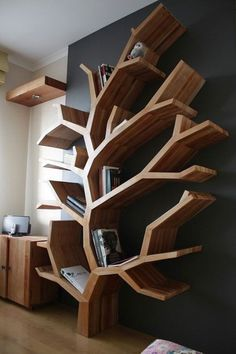 floating shelves bathroom bathroom shelves geometric shelves coner shelves staggered shelves farmhouse shelves furniture diy furniture and woodworking projects Farmhouse Furniture, Home Decor Furniture, Cool Furniture, Geometric Furniture, Natural Furniture, Furniture Design, Creative Bookshelves, Bookshelf Design, Tree Bookshelf