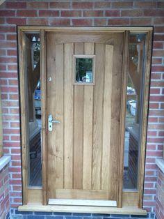 solid oak front door with side lights,oak door,bespoke door,external door