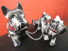 Miniature Dogs, Dog Figurine, Porcelain Dog, Scottish Terrier, Scotty Dog Statue, Leashed Animal, Animal Figurine, Pet Kitsch, Vintage. by SquirrelAwayVintage on Etsy