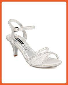 Cathy Din FC13 Women Glitter Leatherette Open Toe Rhinestone Ankle Strap Kitten Heel Sandal - Silver (Size: 6.5) - Sandals for women (*Amazon Partner-Link)