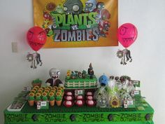 Plants vs Zombies cake and dessert table.