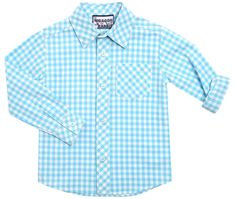 "The Dragon and The Rabbit ""Aqua + White Gingham"" Button Down Shirt"
