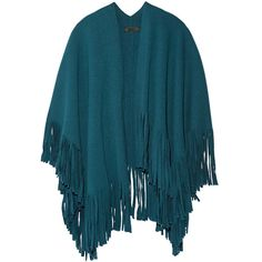 Burberry Prorsum Fringed wool-blend felt poncho (10.060 BRL) ❤ liked on Polyvore featuring outerwear, coats, jackets, kimono, petrol, fringe poncho, burberry poncho and burberry