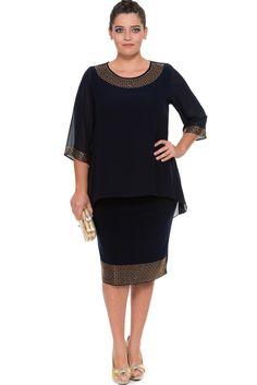 Lacivert Taşlı Büyük Beden Elbise BC8612