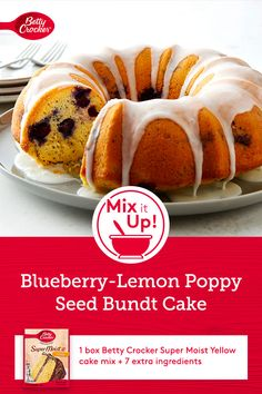 This perfect springtime cake is as pretty as it is easy. Lemon poppy seed cake bursting with fresh blueberries gets a lemony powdered sugar glaze that brings a spritz of citrus. The best part? You can make this beautiful Bundt with just eight simple ingredients. Desserts To Make, Healthy Desserts, Delicious Desserts, Food To Make, Cake Mix Recipes, Bacon Recipes, Cooking Recipes, Moist Yellow Cakes, Yellow Cake Mixes