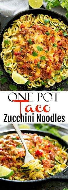 Taco Zucchini Noodles One Pot Taco Zucchini Noodles. Using ground turkey and zucchini noodles for a healthy, low carb, gluten free meal.One Pot Taco Zucchini Noodles. Using ground turkey and zucchini noodles for a healthy, low carb, gluten free meal. Zoodle Recipes, Spiralizer Recipes, Paleo Recipes, Mexican Food Recipes, Low Carb Recipes, Cooking Recipes, Healthy Zucchini Recipes, Veggetti Recipes, Zucchini Noodle Recipes