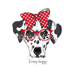 Hand Drawn Portrait of Dalmatian Girl in bow and glasses, Valentine greeting card — Ilustracja stockowa #37150329