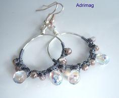 Boucles d'oreille wire wrap cristal AB