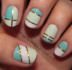 A cute and neat looking metallic inspired nail art design using baby blue, sky blue and white colors.
