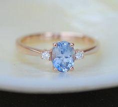 Blue sapphire engagement ring. Promise ring. Oval engagement ring. 3 stone ring. Rose gold engagement ring. Gemstone ring by Eidelprecious by EidelMini on Etsy https://www.etsy.com/listing/532352855/blue-sapphire-engagement-ring-promise