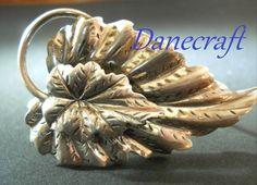 Danecraft Brooch Sterling Silver Vintage Leaves by RenaissanceFair, $28.00