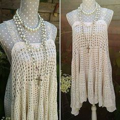 Handmade crochet dress bohemian style. Hippie sunbathing