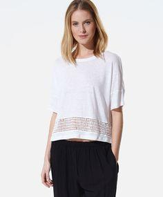 Shirt mit Häkelei und Kügelchen - OYSHO