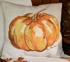 Painted Pumpkin Patch Outdoor Pillow | Pottery Barn