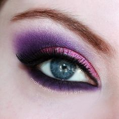 This is a pink glittery eye, with purple smoked out in the crease and lower lashline.