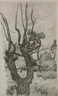 A Bare Treetop in the Garden of the Asylum - Vincent van Gogh. Completed by : 1889, at Saint-remy-de-provence, France. Post Impressionism. Sketch and Study. Pencil and Paper. Held at the Van Gogh Museum, Amsterdam, Netherlands. Via wikipaintings.org