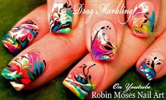 "Rainbow No water Marble Nail Art Design Tutorial ""orlando nail art"" ""orlando nails"" ""no water marble"" ""water marble nails"" ""rainbow nails"" (Nail-art by Robin Moses) Shellac Nail Art, Uv Gel Nails, Nail Art Diy, Cool Nail Art, Diy Nails, Robin Moses, Nail Tutorials, Design Tutorials, Nailart"