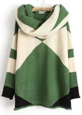 Trendy Geometry Print Green and White Long Sleeve Sweater