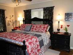 Master Bedroom in Red, Black and White