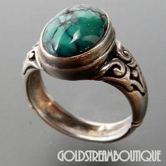Southwestern 925 Silver Oval Turquoise Bezel Setting Swirl Ring Size 7.75